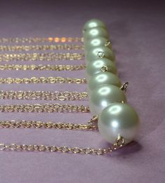 Creme Precious Pearl Necklace Bridal Jewelry Weddings by catilla, $22.00