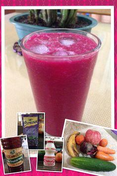 DIY Detox Drink Version 2 1 beet 2 tomatoes 1 Cucumber 1 banana 2 small carrots 1 apple 3 tbsp of honey Grape juice 1 Yakult drink