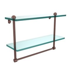 Allied Brass 16 in. W 2-Tiered Glass Shelf with Integrated Towel Bar in