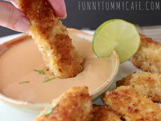 Coconut Chicken Fingers with Creamy Pineapple Dipping Sauce