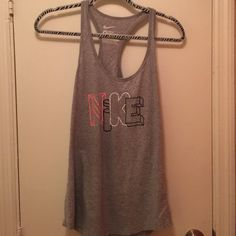 Nike Slim Fit Tank Nike slim fit gray tank. Pink, black and white letters. Racer Back. 100% cotton Nike Tops Tank Tops