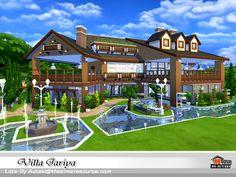 Villa Jariya by autaki at TSR via Sims 4 Updates Sims 4 Loft, Sims 3, Sims 4 Restaurant, The Sims 4 Lots, Sims House Plans, Casas The Sims 4, Sims House Design, Villa, Sims Building