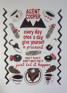 Twin Peaks Screenprint - Silkscreen Poster - Agent Cooper Has A Secret - Dark Brown, Dark Red, Black