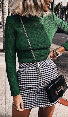 green rib mock turtleneck top + mini gingham skirt + prada crossbody satchel   best back to school outfit ideas for fall   best going out happy hour outfits for women in college   #ootd #outfits #prada #gingham #outfitideas Sweaters, Dresses, Style, Fashion, Vestidos, Swag, Moda, Gowns, Sweater
