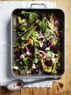 Roasted Broccoli, Beetroot, Lentil and Olive Salad