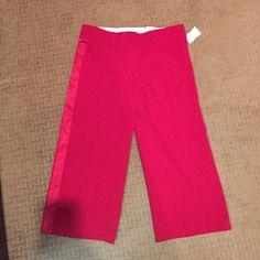 BCBG Maxazria sz 6 dress capris Never worn. Reposh. Size 6. Does not fit me :( Beautiful dark red with satin stripe down the side! Very high quality! Comes from smoke free home! BCBGMaxAzria Pants