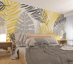 Wallpaper Wall, Palm Leaf Wallpaper, Tropical Wallpaper, Bedroom Wall, Bedroom Decor, Bedroom Sets, Deco Kids, Cleaning Walls, Plant Wall