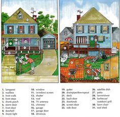 Learning the vocabulary for outside the home / house using pictures English lesson English Fun, English Study, English Words, English Lessons, English Grammar, Learn English, English Language, English Teaching Materials, Teaching English