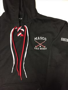 Face off hoodie for masco field hockey emb left chest logo and name on sleeve. 9/16