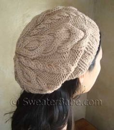 #105 Slouchy 2-Way Cabled Hat PDF Knitting Pattern #knitting #SweaterBabe.com