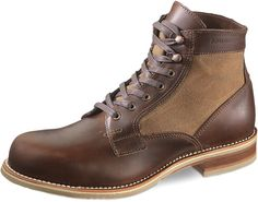 $400, Dark Brown Leather Boots: Wolverine Whitepine 1000 Mile Leathercanvas Boot. Sold by Neiman Marcus. Click for more info: https://lookastic.com/men/shop_items/214800/redirect
