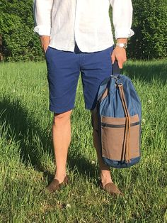 Blue and brown cotton Sailor Bag/ Summer bag/ Beach bag/