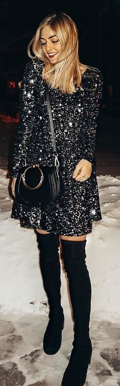 #winter #outfits black reverse sequin long-sleeved mini dress