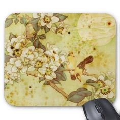 Vintage Flowers and Birds Mousepad