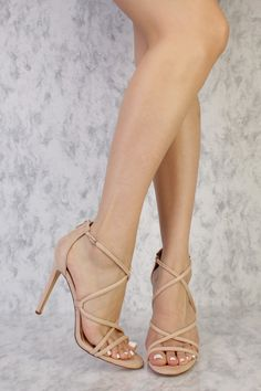Nude Strappy Criss Cross Single Sole High Heels Suede