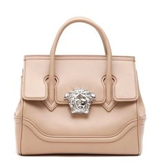 VERSACE Logo enclosure top handle bag ($1,730) ❤ liked on Polyvore featuring bags, handbags, handle bag, versace purses, pink bag, versace bags and logo handbags