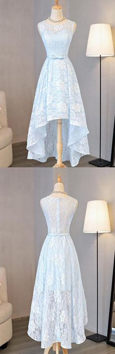 Light Sky Blue Asymmetrical Short Tulle Homecoming Dress Party Dress #Homecoming #Shortpromdresses #Highlow