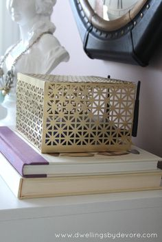 "Dwellings By DeVore - cute and decorative box to hide modem and any other electrical ""stuff"" that's not so pretty  ;)"