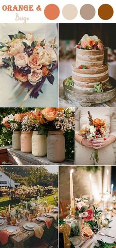 8 Perfect Fall Wedding Color Combos To Steal In 2017 : #3. Vibrant orange and beige neutral color