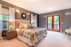 Traditional Master Bedroom with Howard Elliott Casey Mirror, flush light, Modway Lily Upholstered Headboard, Carpet