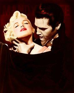 Vampire Elvis Presley and Marilyn Monroe Marilyn Monroe Kunst, Marilyn Monroe Artwork, Hollywood Stars, Classic Hollywood, Old Hollywood, Lisa Marie Presley, Elvis Presley, Mississippi, Tennessee