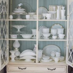 Any other milk glass hoarders out there?? It is no secret I am a collector of way too many things!! But milk glass is my favorite. I was rearranging my hutch today and it is almost full!  I remember when I first started collecting I thought there was no way I would fill up this hutch ..... It only took me 4 years! . I painted the back of my hutch with @anniesloanhome chalk paint in duck egg to make my milk glass pop!! Playing along with: #milkglassmonday #chalktomemonday  #mydecormonday…
