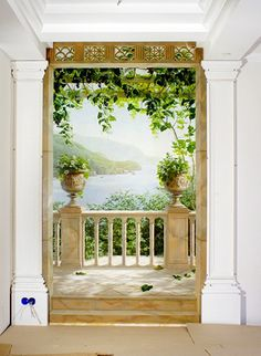 Trompe l'oeil view of Lake Como Window Mural, Mural Wall Art, Photo Mural, Mural Painting, Art Decor, Home Decor, Fresco, Design Art, Interior Decorating