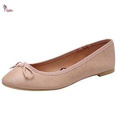 OCHENTA Femme Ballerine plat rond noeud Ballet Rose 40 - Chaussures ochenta (*Partner-Link)