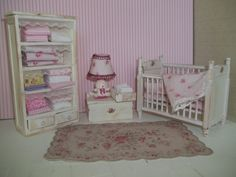 Dollhouse miniature baby girls room. $45.00, via Etsy.