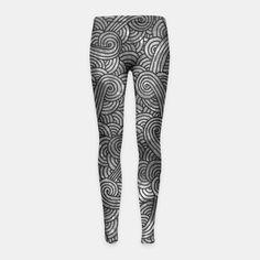 """Grey and black zentangles"" Girl's Leggings by Savousepate on Live Heroes #leggings #leggins #pants #kidsapparel #kidsclothing #pattern #graphic #modern #abstract #doodles #zentangles #scrolls #spirals #arabesques #grey #gray #black #blackandwhite"