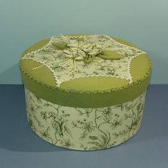 Floral Fabric Cover Box Ladies French Boudoir Keepsake Sage