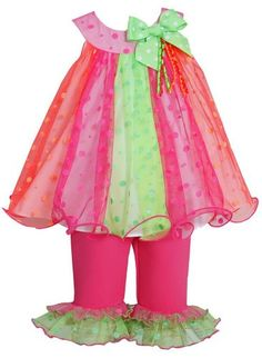 0d6f149abfc49 Bonnie Jean Toddler Girls Multi-Color Spring Summer Outfit & Leggings Set  New