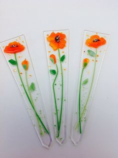 Fused Glass Plant Stakes and Garden Stakes (California Poppy)