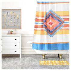 "Bianca Green Fiesta Shower Curtain Blue (71""x74"") - DENY Designs : Target"