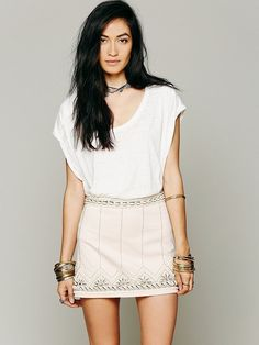 Free People Gilliam Bay Embroidered Mini, Cream, Size 6, NWOT MSRP $168.00 SO #FreePeople #Mini