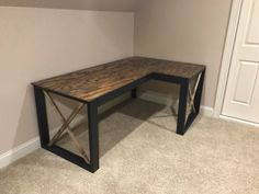 L Shaped Double X Desk - Diy office desk Wood Projects That Sell, Small Wood Projects, Diy Furniture Projects, Pipe Furniture, Furniture Vintage, Diy Office Desk, Diy Computer Desk, Diy Crafts Desk, Craft Desk