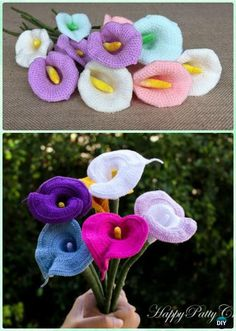 Crochet Calla Lily Flower Free Pattern- Flower Bouquet Free Pattern Crochet Flower Bouquet Free Patterns [Picture Instructions]: Crochet Rose, Hydrangea, Waterlily, Christmas Poinsettia, Orchid more Vivid in Pot or Vase Crochet Bouquet, Crochet Puff Flower, Knitted Flowers, Crochet Flower Patterns, Crochet Motif, Crochet Roses, Crochet Stars, Easy Crochet, Crochet Wedding