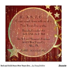 red and gold stars new years eve party invitation