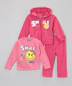 Love this Hot Pink 'Smile' Hoodie Set - Infant, Toddler & Girls on #zulily! #zulilyfinds