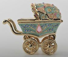 A Baby carriage Trinket Box by Keren Kopal Faberge Egg Swarovski Crystal