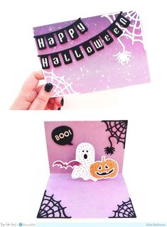 Hey everyone, it's Elsie Robinson ! I've been really enjoying card making recently so I was really excited when Paige asked me to create s. Happy Halloween Banner, Halloween Cards, Halloween Themes, Some Cards, Pop Up Cards, Silhouette Design Studio, White Acrylic Paint, New Baby Cards, Recipe Cards