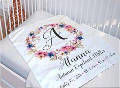 Baby Monogrammed Blanket  Baby Name Blanket  by SoulStudioPrints