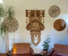 Large Don Freedman-style macrame tapestry / midcentury modern jute wall hanging by EarthshipVintage on Etsy