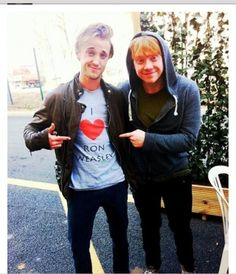 Ironically humerous photo of Tom Felton and Rupert Grint