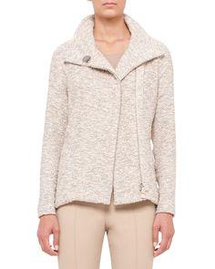 Easy Long-Sleeve Boucle Tweed Jacket, Kami/Beige - Akris