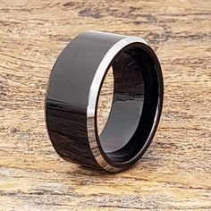 Kana black silver rings with a polished silver beveled edge. Kana is a width and available in several widths for men and women. 15 Rings, Rings For Men, Black Rings, Silver Rings, Black Tungsten Rings, Black Polish, Survival Gear, Statement Rings, Metals