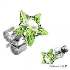 1 Paar Ohr Stecker Zirkonia Stern hell grün  925  Silber...