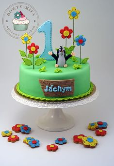 Little Mole Cake - Cake by Michaela Fajmanova Baby Cakes, Cupcake Cakes, Cake Designs For Kids, 1st Birthday Cakes, Funny Cake, Gateaux Cake, Fondant Decorations, Just Cakes, Novelty Cakes