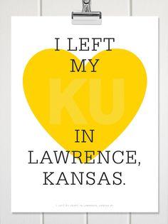 18X24 / I Left My Heart in Lawrence Kansas / KU by DanielleDragan, $35.00