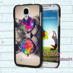 "Cat Wear Glasses for Samsung Galaxy S4 5.0"" screen Black Case"